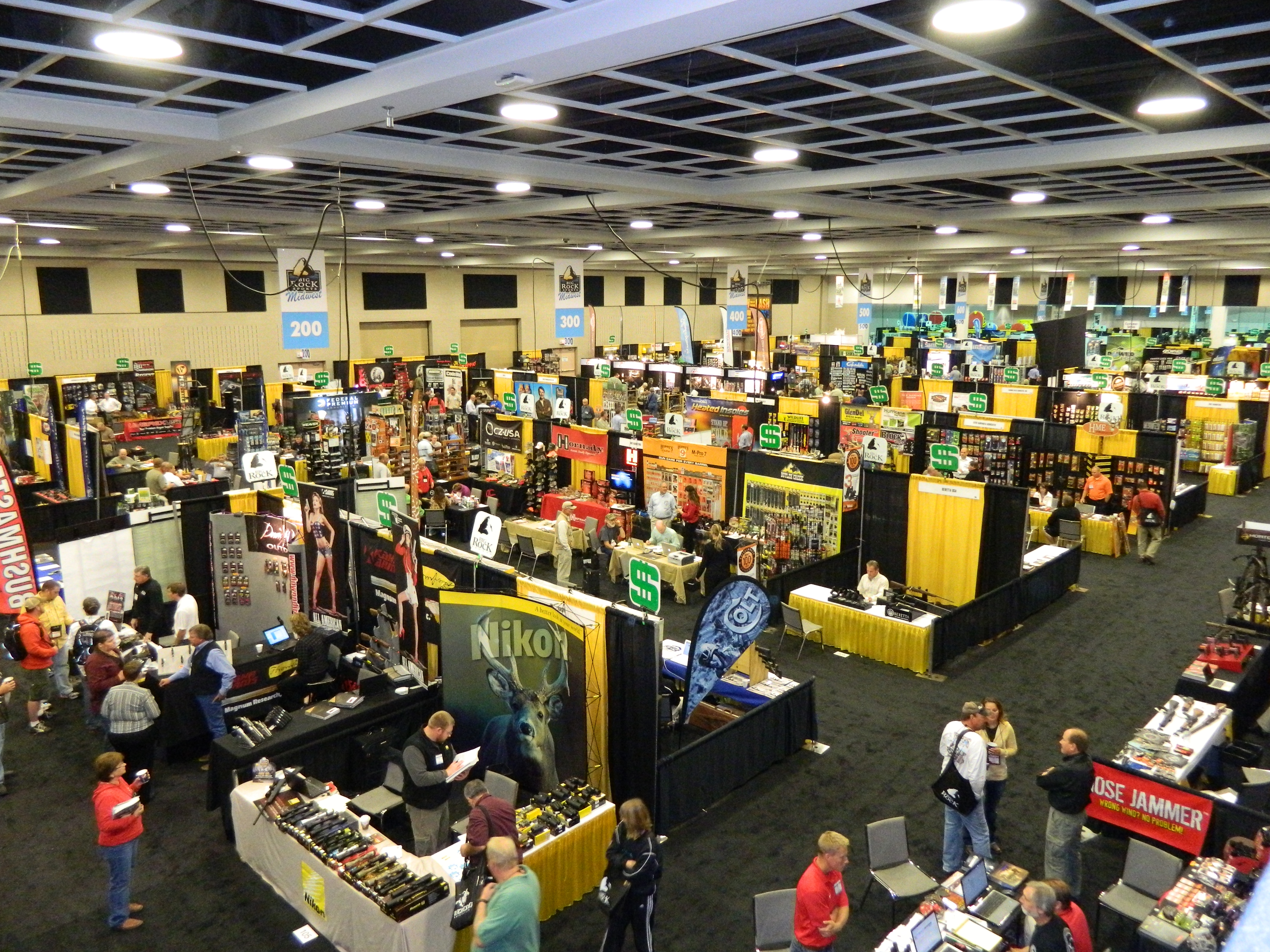 Aerial view of people and booths in convention hall for Big Rock Sports show