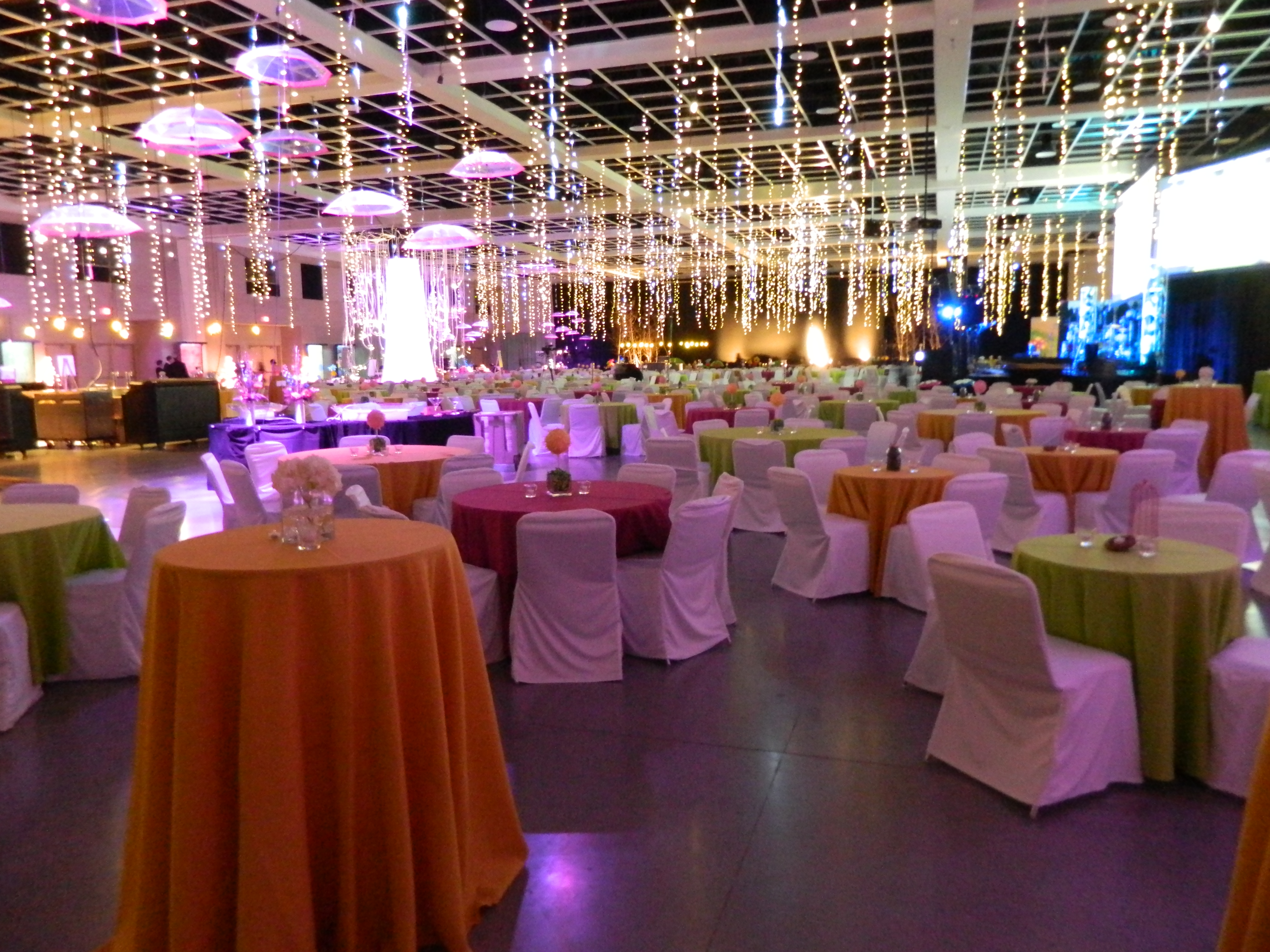 Hall decorated with hanging lights and draped tables and chairs for Holly Ball 2012